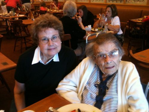 Barbara Falconer Newhall and Tinka Falconer at Nordstrom Cafe, Stanford, for lunch. Photo by BF Newhall.