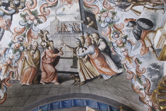 A ceiling mural at Atototnilco Sanctuary depicts the ignominious end of Judas Iscariot. Photo by BF Newhall