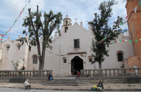 Stucco facade of the Sanctuario de Atotonilco in central Mexico. Photo by BF Newhall