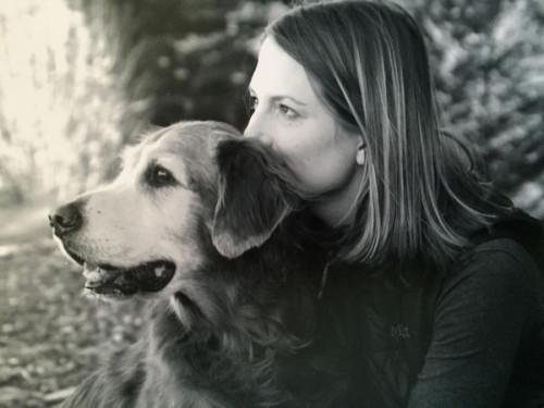 Julie Barton, author of 'Dog Medicine,' with her soul mate dog Bunker, 2007. Photo by Heather Knape, heather Knape.com.